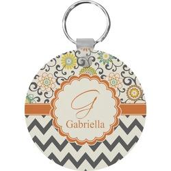 Swirls, Floral & Chevron Round Keychain (Personalized)