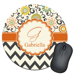 Swirls, Floral & Chevron Round Mouse Pad (Personalized)