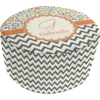 Swirls, Floral & Chevron Round Pouf Ottoman (Personalized)