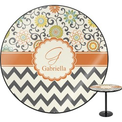 Swirls, Floral & Chevron Round Table (Personalized)