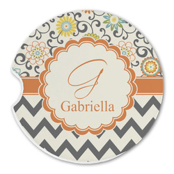 Swirls, Floral & Chevron Sandstone Car Coasters (Personalized)