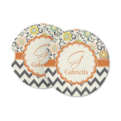 Swirls, Floral & Chevron Sandstone Car Coasters (Personalized)