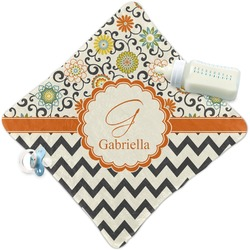 Swirls, Floral & Chevron Security Blanket (Personalized)