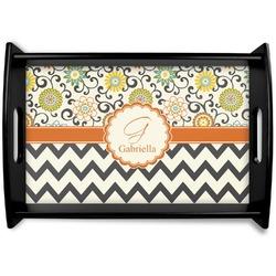 Swirls, Floral & Chevron Black Wooden Tray (Personalized)