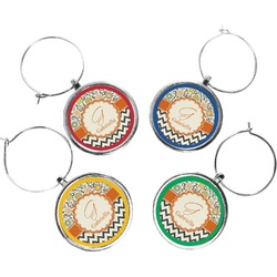 Swirls, Floral & Chevron Wine Charms (Set of 4) (Personalized)