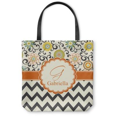 Swirls, Floral & Chevron Canvas Tote Bag (Personalized)