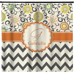 Swirls, Floral & Chevron Shower Curtain (Personalized)