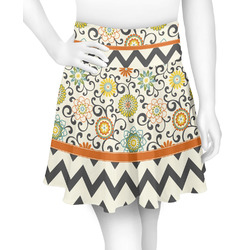Swirls, Floral & Chevron Skater Skirt (Personalized)