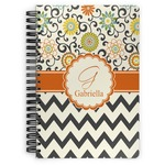 Swirls, Floral & Chevron Spiral Bound Notebook (Personalized)