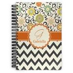 Swirls, Floral & Chevron Spiral Notebook (Personalized)