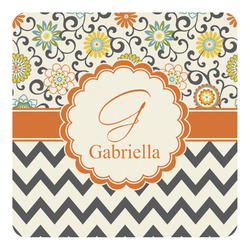 Swirls, Floral & Chevron Square Decal - Custom Size (Personalized)