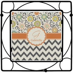 Swirls, Floral & Chevron Square Trivet (Personalized)