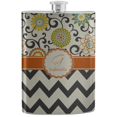 Swirls, Floral & Chevron Stainless Steel Flask (Personalized)