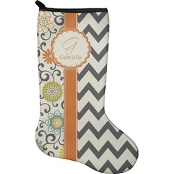 Swirls, Floral & Chevron Christmas Stocking - Neoprene (Personalized)
