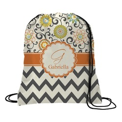 Swirls, Floral & Chevron Drawstring Backpack (Personalized)