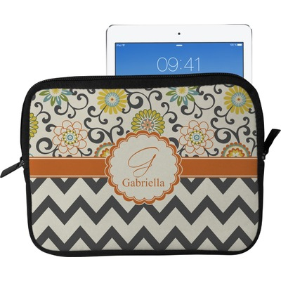 Swirls, Floral & Chevron Tablet Case / Sleeve - Large (Personalized)