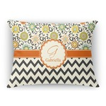 Swirls, Floral & Chevron Rectangular Throw Pillow Case (Personalized)