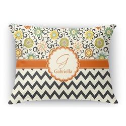 Swirls, Floral & Chevron Rectangular Throw Pillow Case (Personalized)