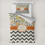 Swirls, Floral & Chevron Toddler Bedding w/ Name and Initial