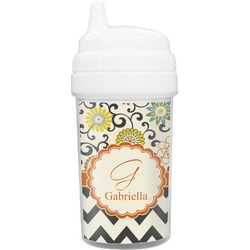 Swirls, Floral & Chevron Toddler Sippy Cup (Personalized)