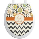 Swirls, Floral & Chevron Toilet Seat Decal (Personalized)