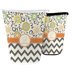 Swirls, Floral & Chevron Waste Basket (Personalized)