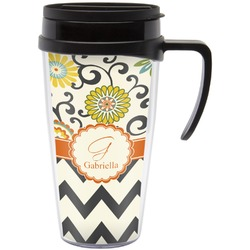 Swirls, Floral & Chevron Travel Mug with Handle (Personalized)