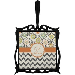 Swirls, Floral & Chevron Trivet with Handle (Personalized)