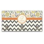 Swirls, Floral & Chevron Wall Mounted Coat Rack (Personalized)