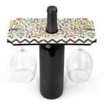 Swirls, Floral & Chevron Wine Bottle & Glass Holder (Personalized)