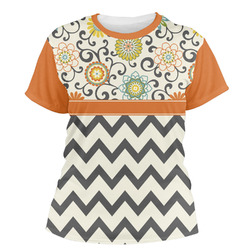 Swirls, Floral & Chevron Women's Crew T-Shirt (Personalized)