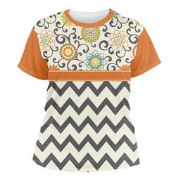 Swirls, Floral & Chevron Women's Crew T-Shirt (Personalized)