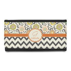 Swirls, Floral & Chevron Leatherette Ladies Wallet (Personalized)