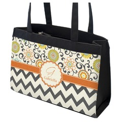 Swirls, Floral & Chevron Zippered Everyday Tote (Personalized)