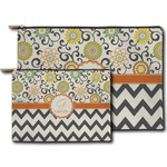 Swirls, Floral & Chevron Zipper Pouch (Personalized)