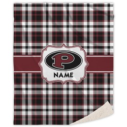 Pearland Oilers Plaid Sherpa Throw Blanket (Personalized)