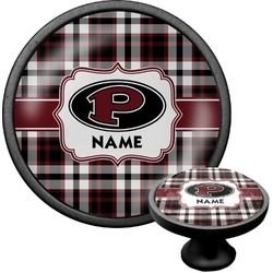 Pearland Oilers Plaid Cabinet Knob (Black) (Personalized)