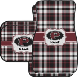 Pearland Oilers Plaid Car Floor Mats Set - 2 Front & 2 Back (Personalized)