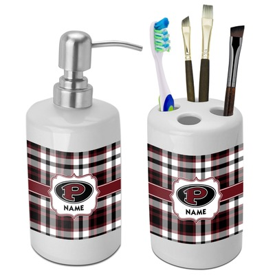 Pearland Oilers Plaid Bathroom Accessories Set (Ceramic) (Personalized)