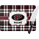 Pearland Oilers Plaid Rectangular Glass Cutting Board (Personalized)