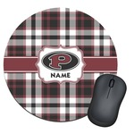 Pearland Oilers Plaid Round Mouse Pad (Personalized)