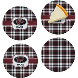 Pearland Oilers Plaid Set of 4 Glass Appetizer / Dessert Plate 8