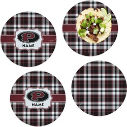 Pearland Oilers Plaid Set of 4 Lunch / Dinner Plates (Glass) (Personalized)