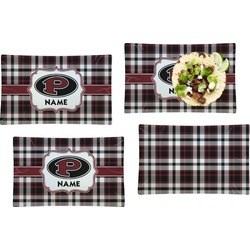 Pearland Oilers Plaid Set of 4 Rectangular Dinner Plates (Personalized)