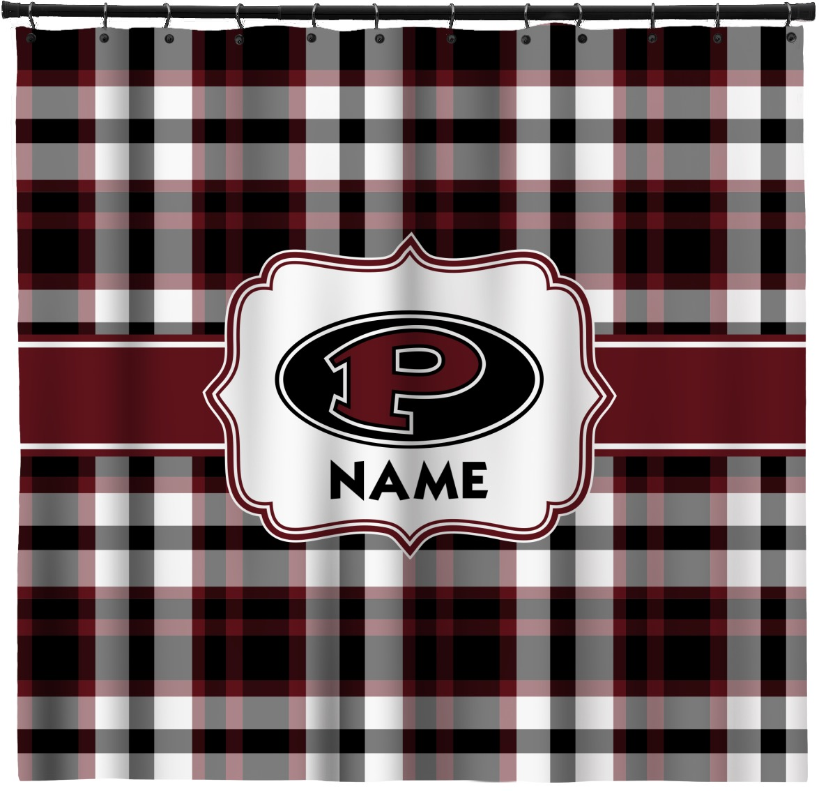 Pearland Oilers Plaid Shower Curtain Personalized
