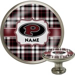 Pearland Oilers Plaid Cabinet Knob (Silver) (Personalized)