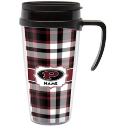 Pearland Oilers Plaid Travel Mug with Handle (Personalized)