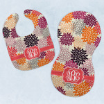 Mums Flower Baby Bib & Burp Set w/ Monogram