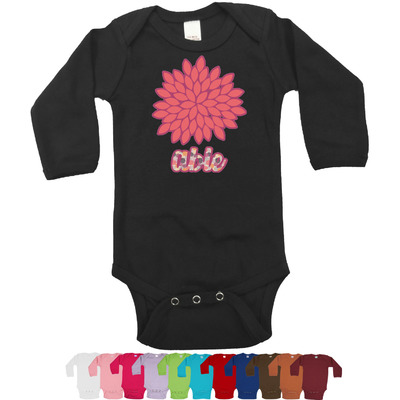 Mums Flower Long Sleeves Bodysuit - 12 Colors (Personalized)