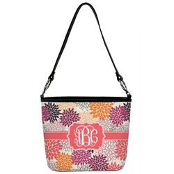 Mums Flower Bucket Bag w/ Genuine Leather Trim (Personalized)